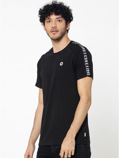 Black Sleeve Tape Detail Crew Neck T-Shirt
