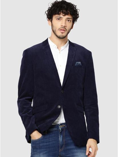 Dark Blue Corduroy Slim Fit Blazer