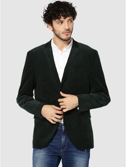Dark Green Corduroy Slim Fit Blazer