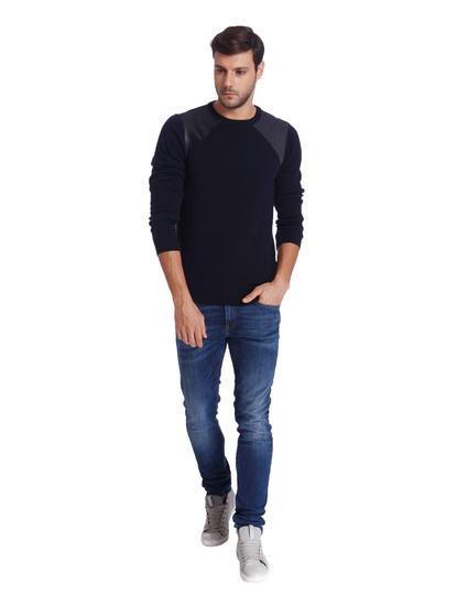 Dark Blue Regular Fit Pullover