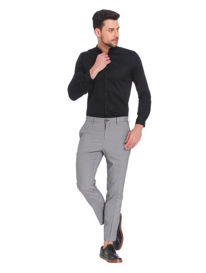 Gingham Print Slim Fit Trousers
