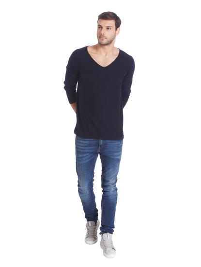 Dark Blue V-Neck Knit Pullover