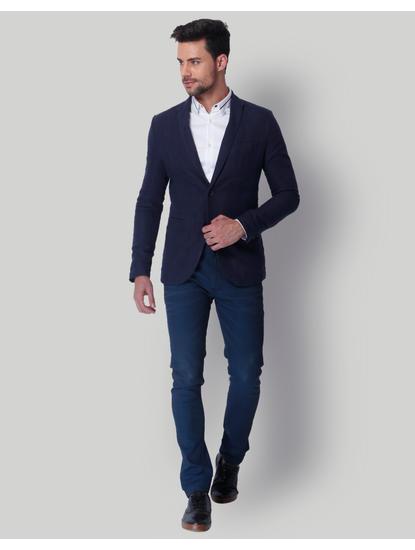 Dark Blue Linen Blazer