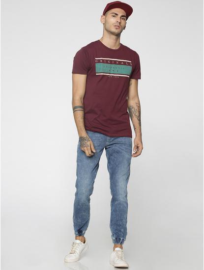 Maroon Graphic Print Crew Neck T-Shirt
