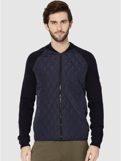 Dark Blue Quilted Bomber Cardigan