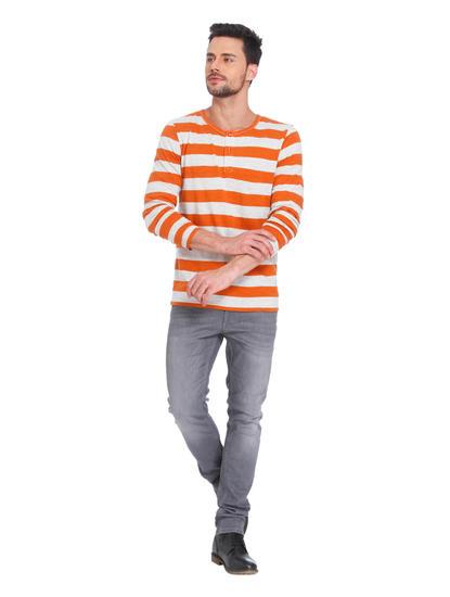 Rust Striped Crew Neck T-Shirt