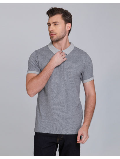 Grey Polo Neck T-Shirt