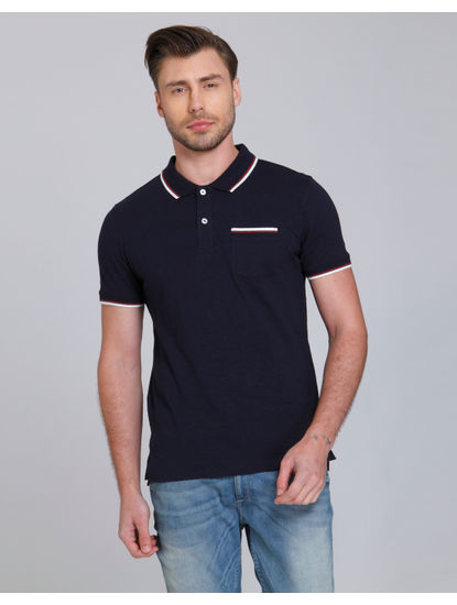 Dark Blue Polo Neck T-Shirt