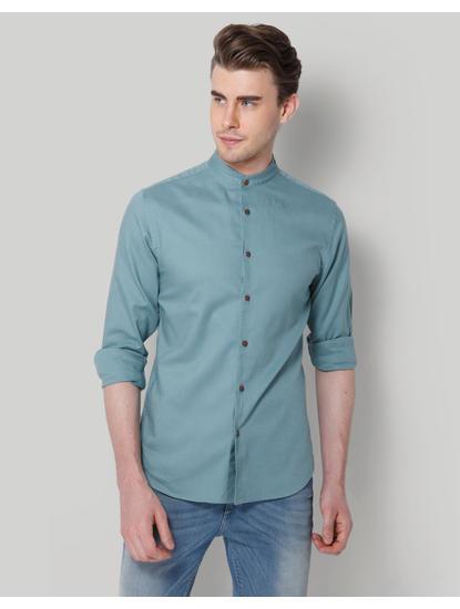 Turquoise Blue Mandarin Collar Slim Fit Shirt