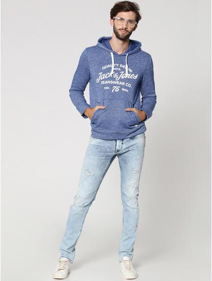 Blue Graphic Print Hooded Sweatshirt