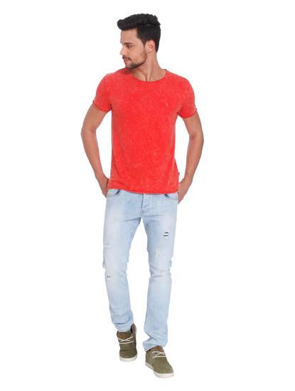 Textured Red Crew Neck T-Shirt
