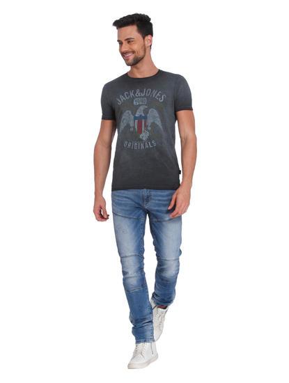 Dark Grey Eagle Print Crew Neck T-Shirt
