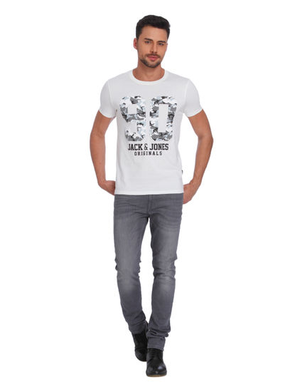 White Camo Graphic Print Crew Neck T-Shirt