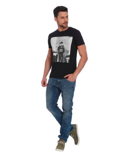 Black Dog Print Crew Neck T-Shirt