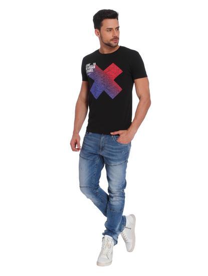 Black Color Graphic Crew Neck T-Shirt