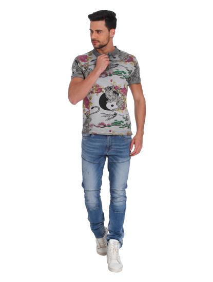 Grey Tiger & Floral Print Polo T-Shirt