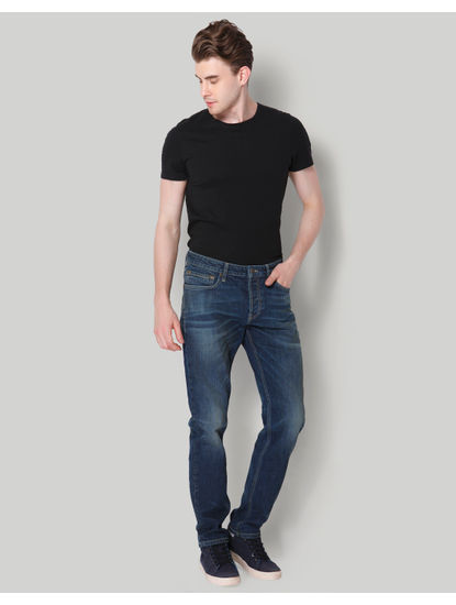 Blue Plain Mid Rise Comfort Fit Jeans