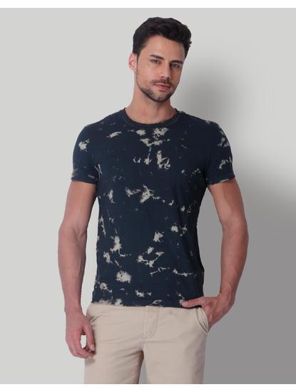 Black Tye & Dye Print Crew Neck T-Shirt