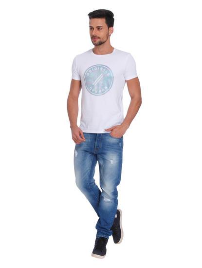 Grey Tiger & Floral Print Polo Neck T-Shirt