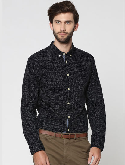 Black All Over Print Full Sleeves Shirt