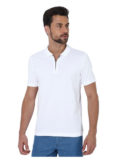 White Zip Up Polo T-Shirt
