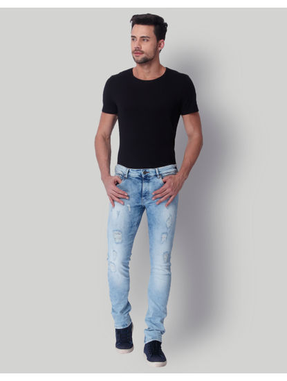 Light Blue Ripped Low Rise Slim Fit Jeans