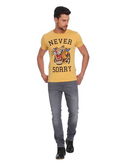 Yellow Tiger Print Crew Neck T-Shirt