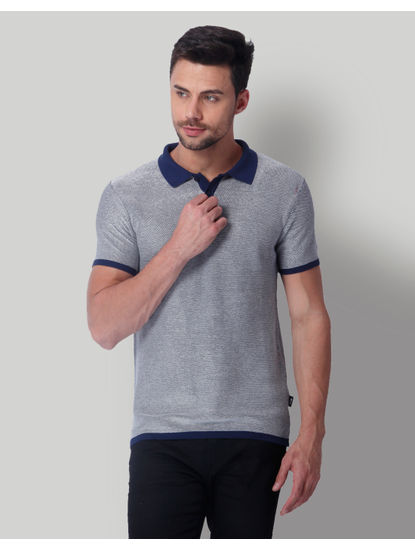 Grey & Blue Polo Neck T-Shirt