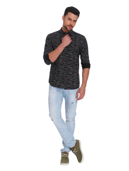 Black With White Lines Regular Fit Shirt