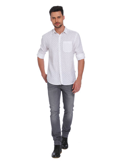 White All Over Print Linen Shirt