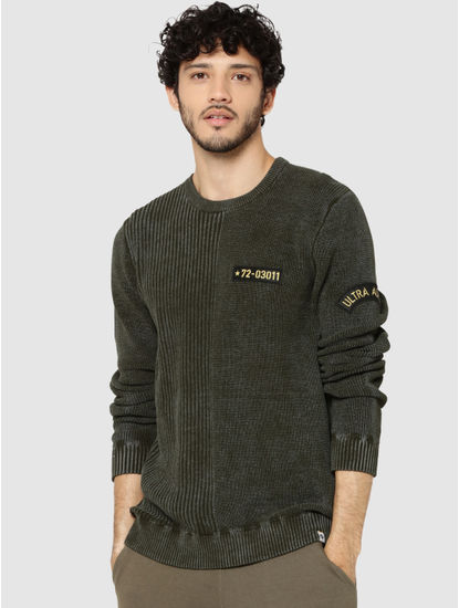 Olive Green Ribbed Badge Detail Sweater