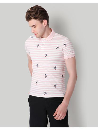 Pink Striped Palm Print Polo T-Shirt