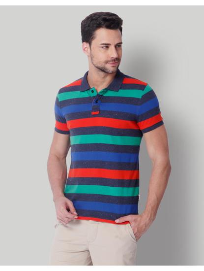 Multi-Colored Striped Polo T-Shirt