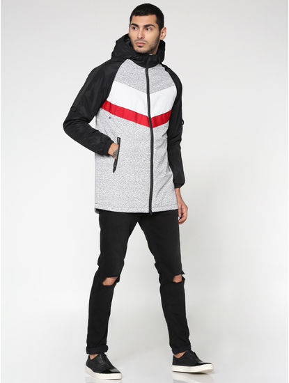 Black Colour Blocked Hooded Zip Up Casual Jacket