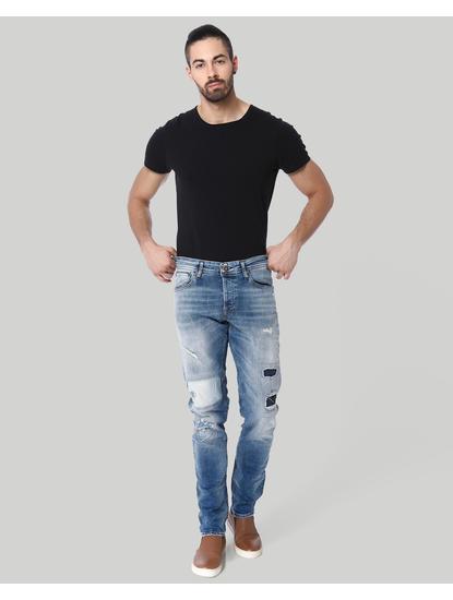 Light Blue Distressed Low Rise Slim Fit Jeans