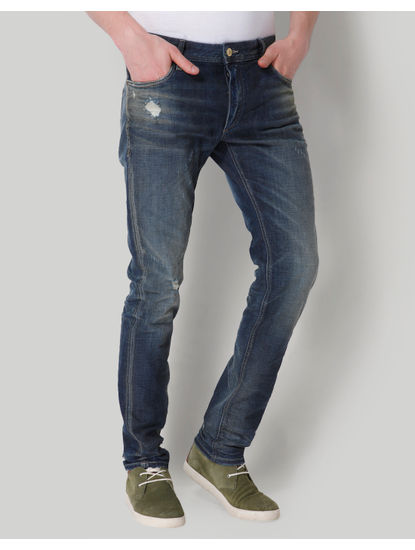 Blue Distressed Low Rise Slim Fit Jeans