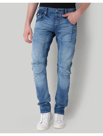 Light Blue Mid Rise Tapered Fit Jeans