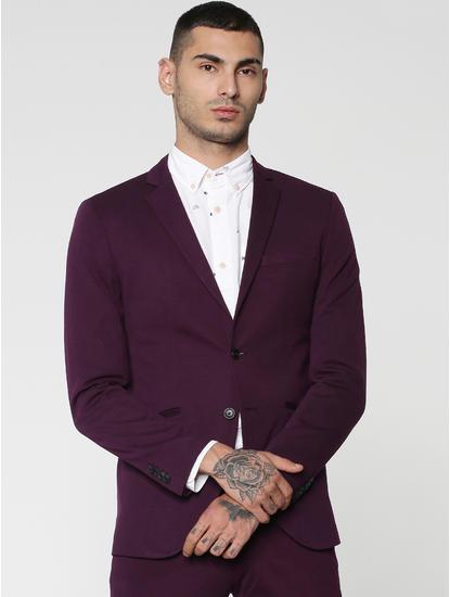 Purple Double Button Slim Fit Blazer