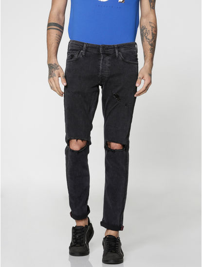 Black Glenn Knee Ripped Skinny Fit Jeans