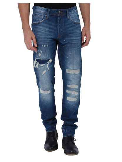 Blue Heavy Distressed Mid Rise Slim Fit Jeans