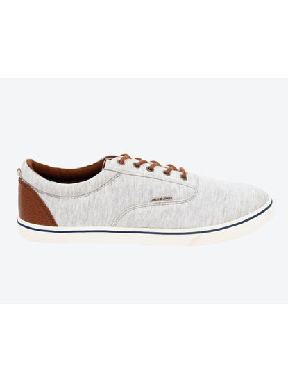 Light Grey & Brown Canvas Sneakers