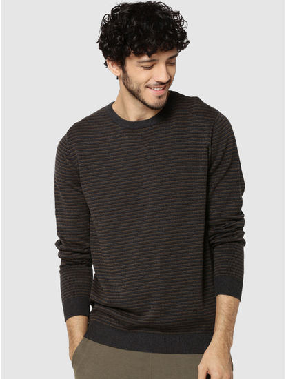 Dark Grey Striped Jacquard Pullover