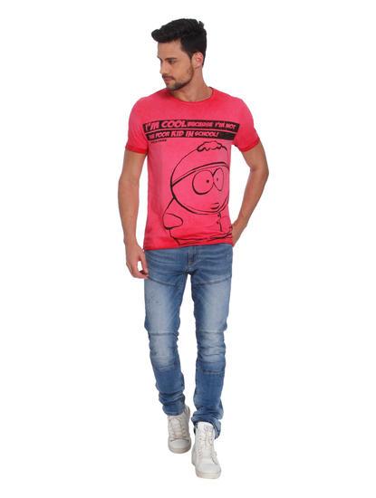 Pink Cartman Print Crew Neck T-Shirt