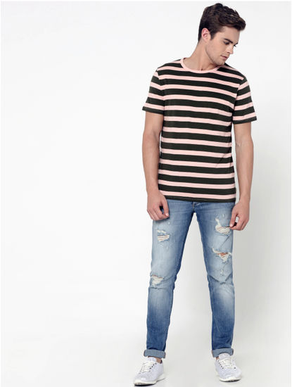 Pink Striped Crew Neck T-Shirt