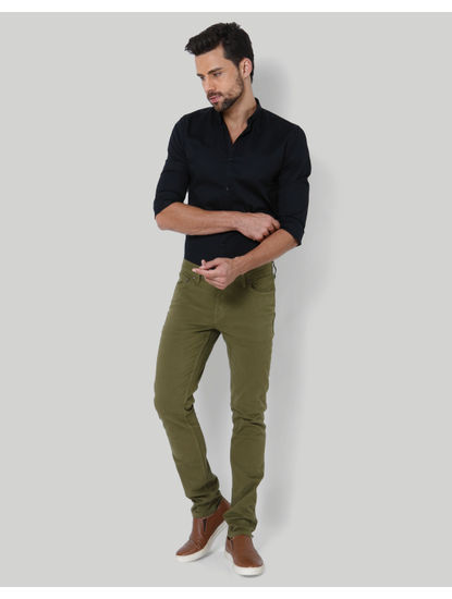 Green Mid Rise Slim Fit Chinos