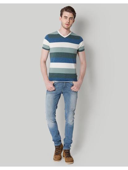 Blue Striped Colour Blocked V-Neck T-Shirt