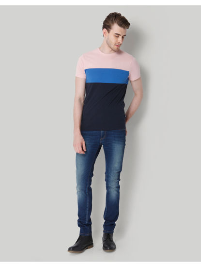 Rose Colour Blocked Crew Neck T-Shirt