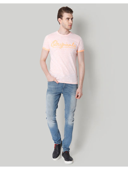 Pink Logo Print Crew Neck T-Shirt