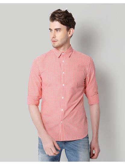Pink Gingham Slim Fit Shirt