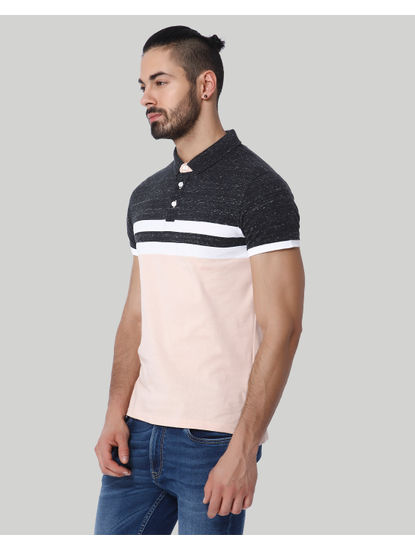 Light Peach Colour Blocked Striped Polo T-Shirt